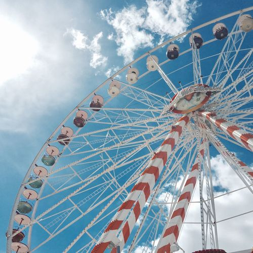 Amusement Park Ferris Wheel Arts Culture And Entertainment Amusement Park Ride Low Angle View Sky Happy Circle Big Wheel Day Leisure Activity Motivation Outdoors Blue Carousel Kieler Förde Kielerwoche Jahrmarkt Riesenrad Vintage Blue Sky Kiel Himmel Positive Juhu Mix Yourself A Good Time