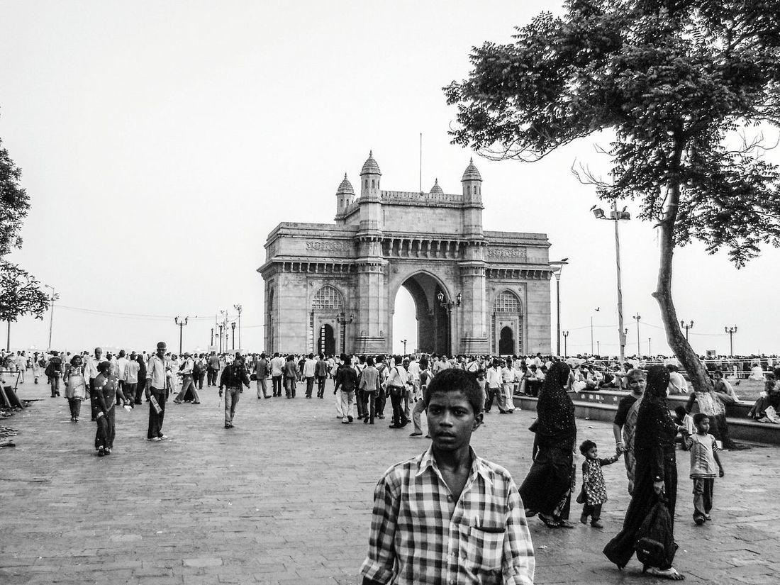 B&w Street Photography Mumbai People Gathering India Bombay Black And White Sky Monument Monochrome Travel Boy Gateway Of India