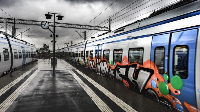 Graffitti on commuter trains in Stockholm, Sweden. City Cloud - Sky Day Mode Of Transport No People Outdoors Public Transportation Sky Transportation