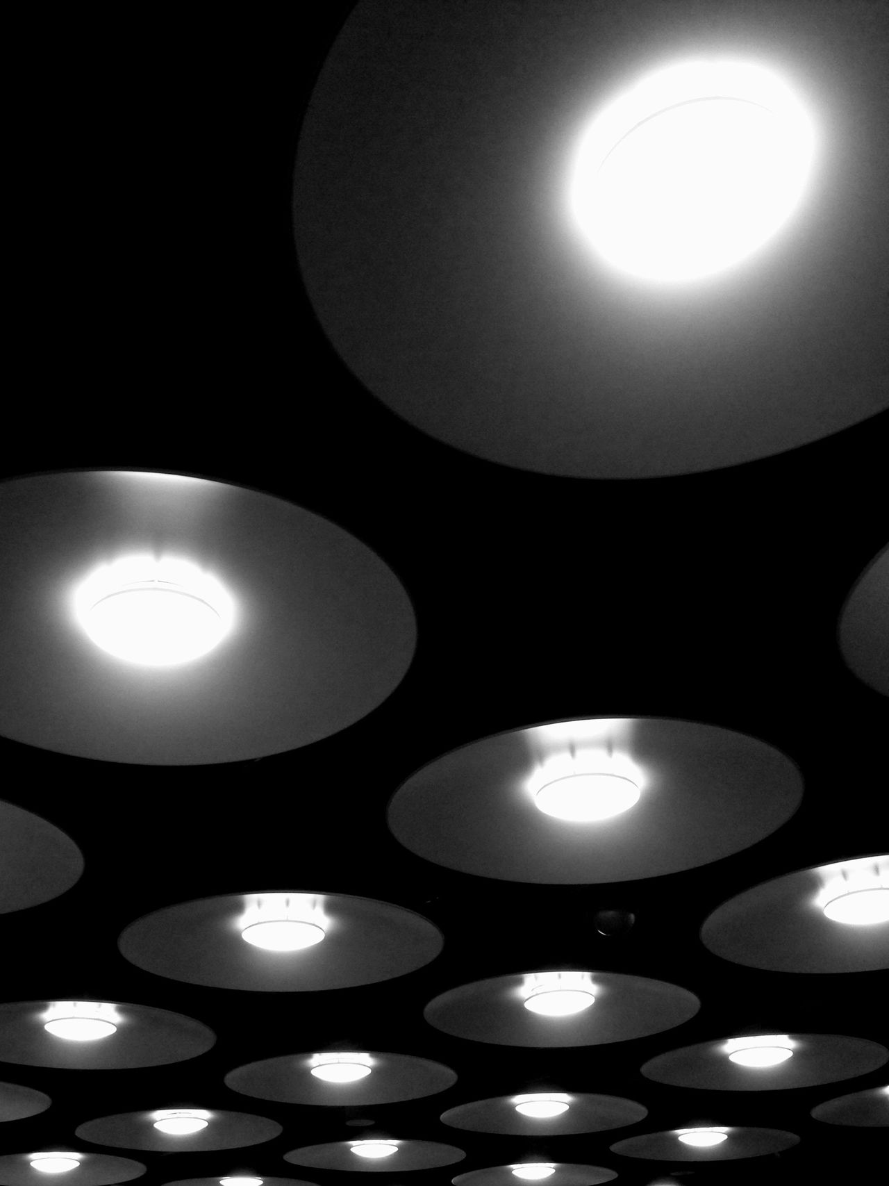Lighting Equipment Illuminated Circle Lit Night No People Indoors  Light Abstract Pattern Black And White Black & White Light And Shadow IPhoneography Interior Design Close-up Circular