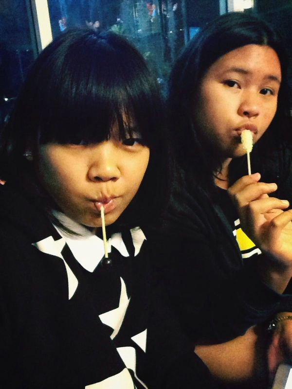 With my sister.
