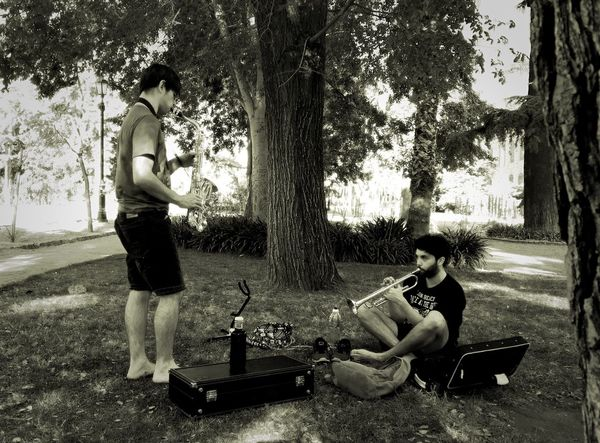 Two People Full Length Sitting Tree Playing Lifestyles Men Jam Session Musicians Music Brings Us Together Saxophone Saxophonist Trumpet Real People Day Nature Outdoors Adult People IPhone Black And White