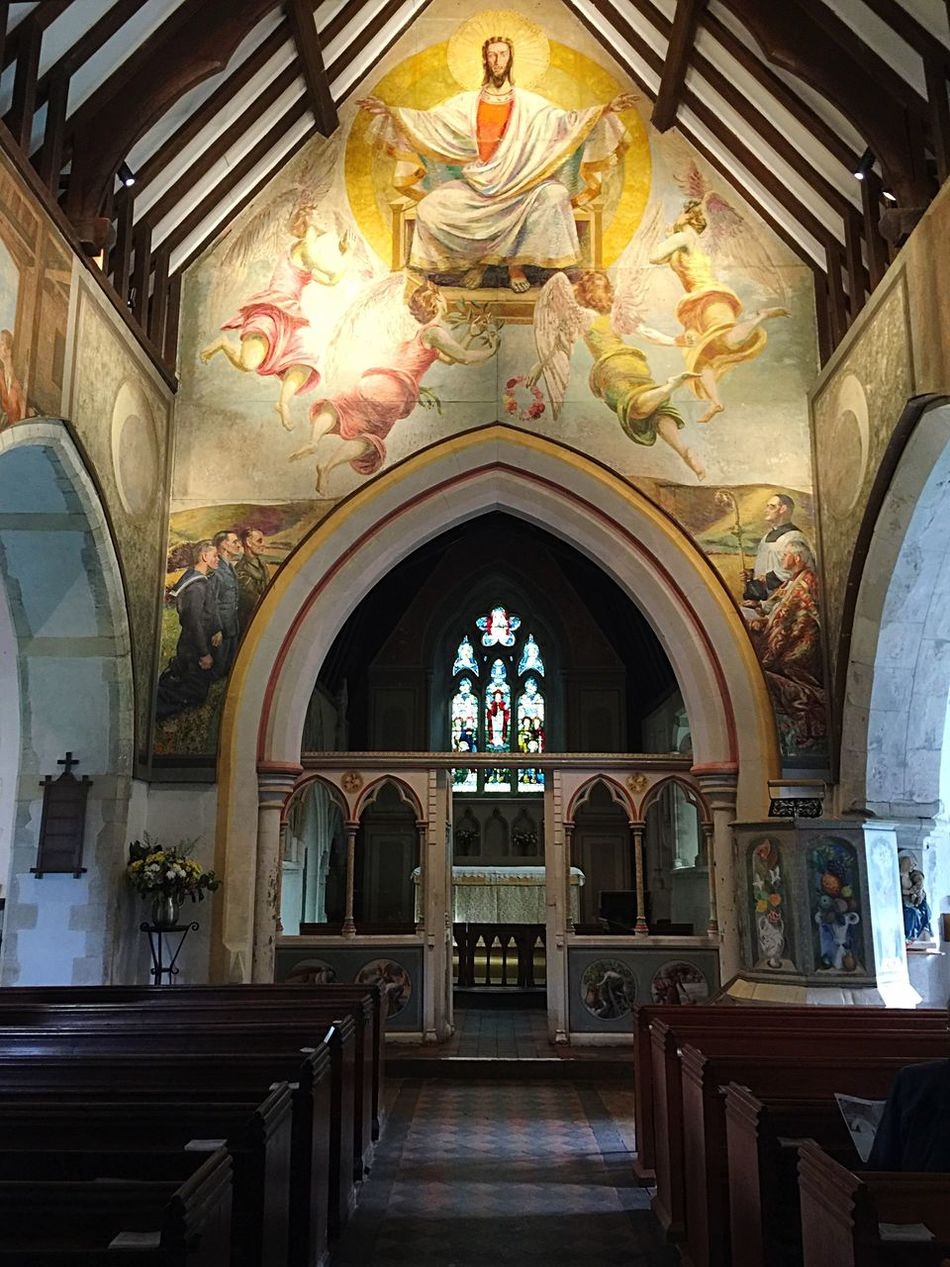 Beautiful murals on the walls of St Michaels Church and all Angels at Berwick East Sussex England 😊✨