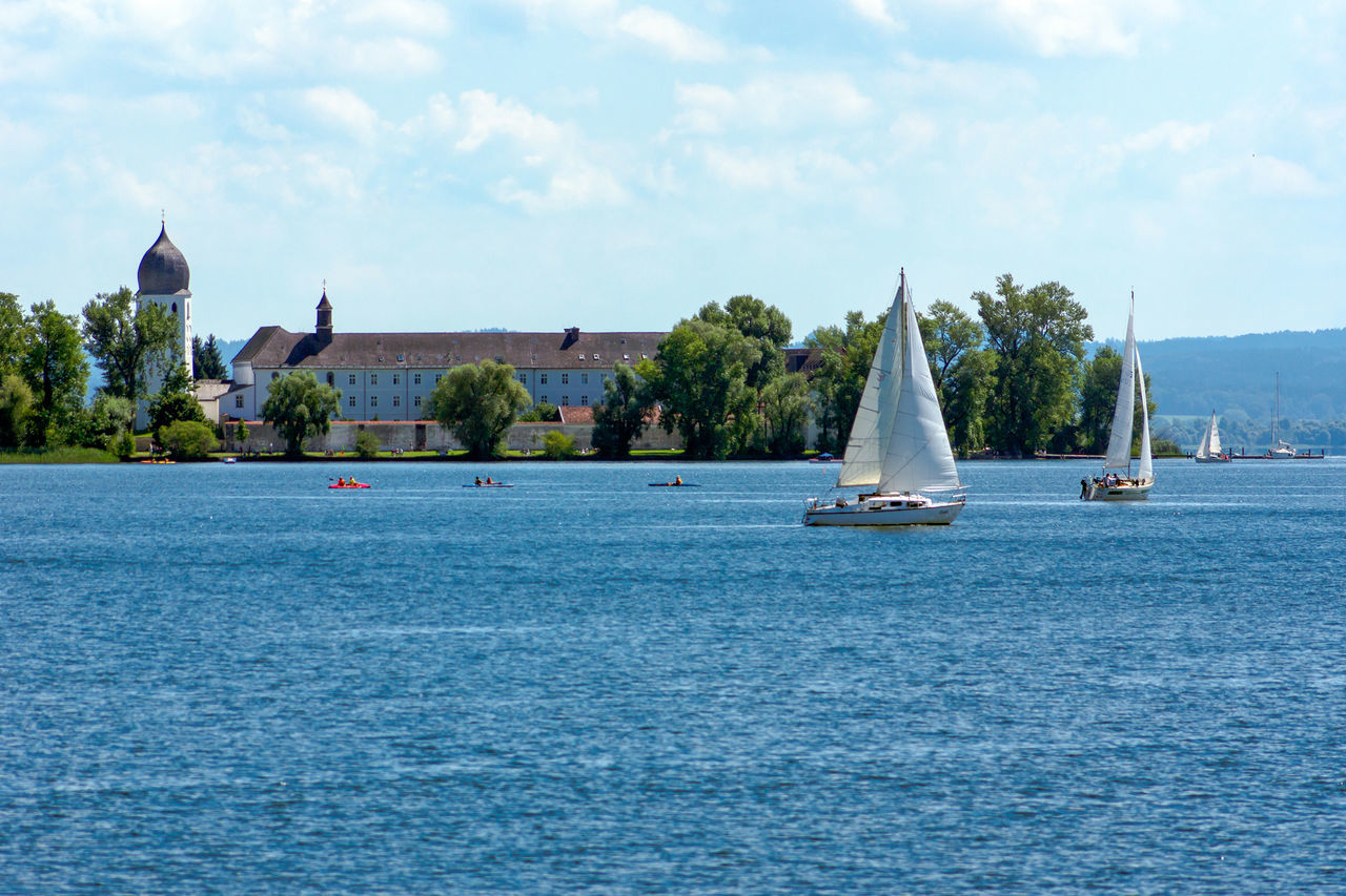 Frauenchiemsee Kloster Architecture Beauty In Nature Blue Building Exterior Built Structure Cloud - Sky Day Mast Mode Of Transport Nature Nautical Vessel No People Outdoors Sailboat Sailing Sailing Ship Scenics Sea Sky Tranquility Transportation Tree Water Waterfront
