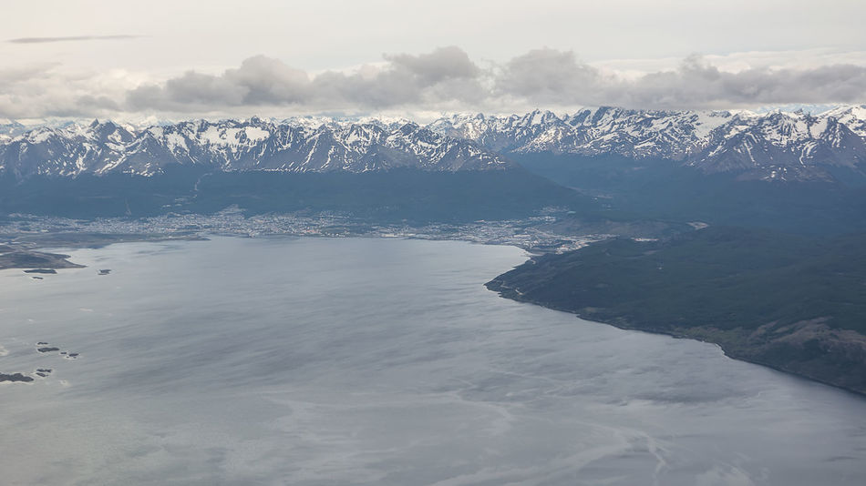 Beagle channel and Ushuaia seen from airplane(Argentina) Aerial Aerial View Andes Argentina Beagle Channel Landscape Mountains Patagonia Southernmost Tierra Del Fuego Ushuaïa