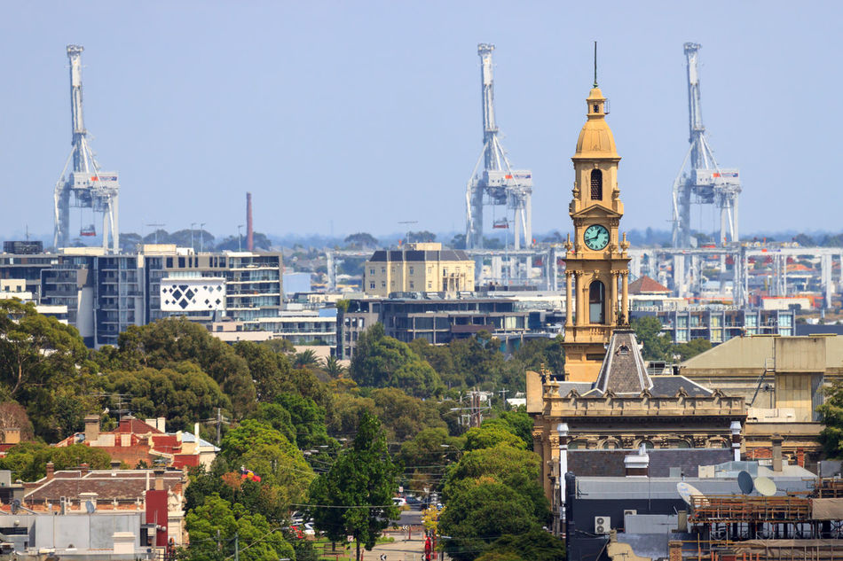 Looking towards the South Melbourne City Hall, with Port Melbourne cranes in the background Architecture Building Exterior Built Structure City City Hall City Life Cityscape Clock Tower Crane - Construction Machinery Day Eye4photography  EyeEm Best Shots Nature Outdoors Sky Tower Travel Destinations