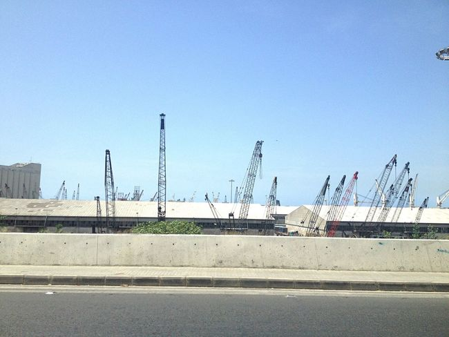 Driving By Cranes Beirut Port Lines Lines And Surfaces Lines And Sky Lines And Shapes