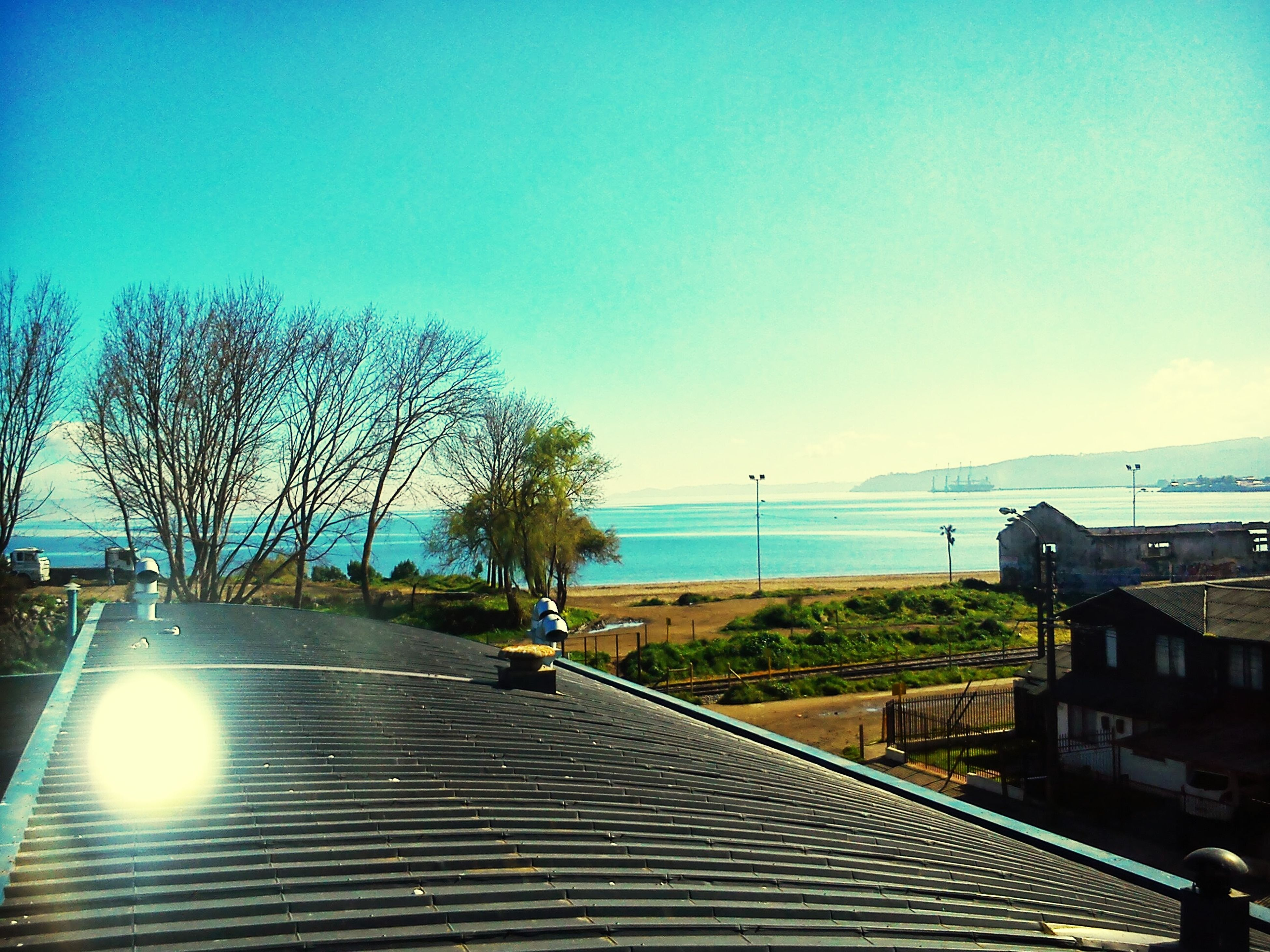 clear sky, tree, water, sea, horizon over water, blue, copy space, sunlight, tranquility, tranquil scene, nature, sky, scenics, railing, transportation, road, beauty in nature, sun, the way forward, built structure