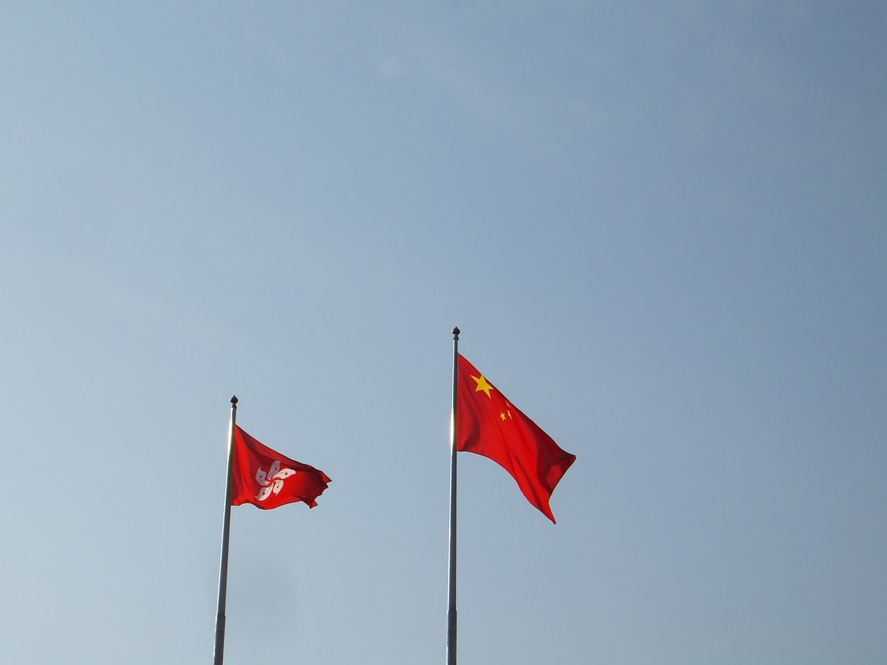 Blue Sky Chinese Flag Flag Flagpole Hong Kong Flag National Flag Red Flags InHong Kong Two Is Better Than One