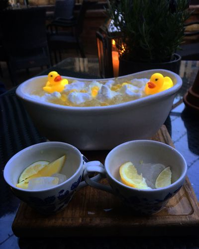 Paint The Town Yellow Table Bowl No People Food And Drink Food Indoors  Freshness Close-up Rubber Duck Cocktail Day Bath tub sharing cocktail at The White Swan.