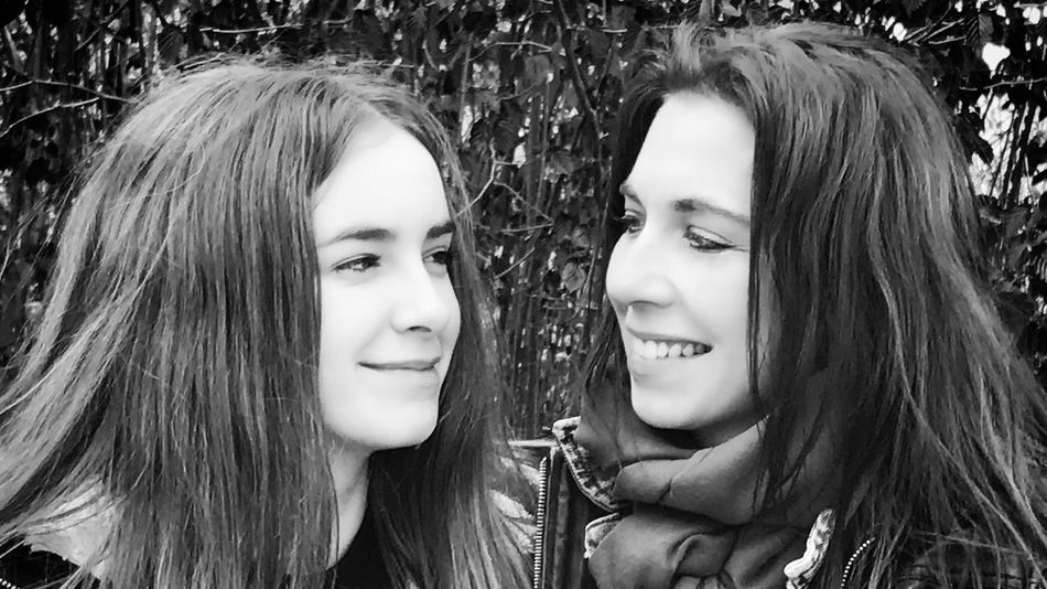 Mother & Daughter Long Hair Smiling Friendship Portrait Happiness Two People Young Women Young Adult Real People Headshot Togetherness Girls Beauty Love Motherlove Best Team Ever Face Profile Blackandwhite Black And White Photography Fearless And Faithful People EyeEmNewHere Resist My Love