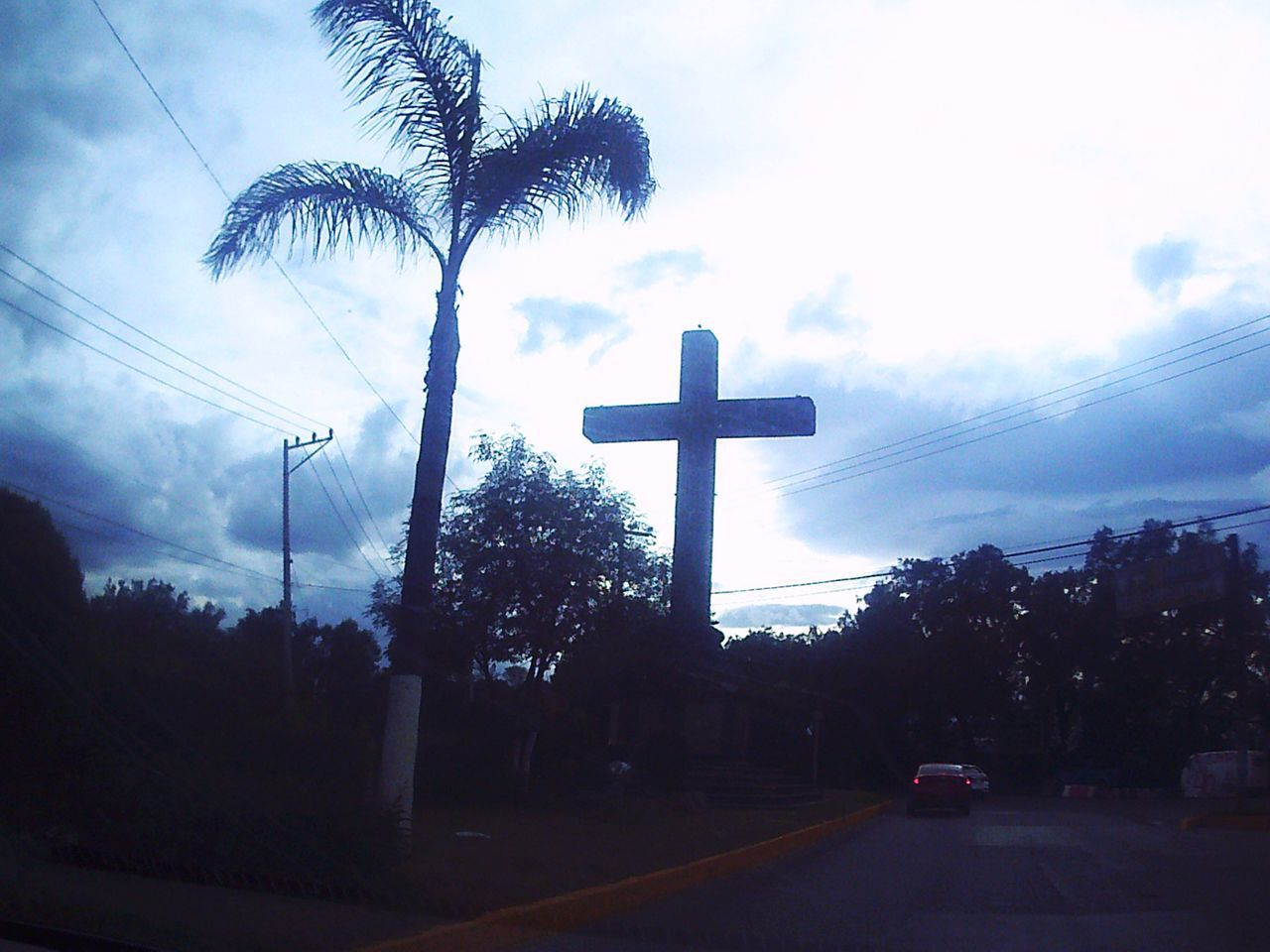 religion, no people, cross, silhouette, spirituality, sky, outdoors, tree, day, architecture