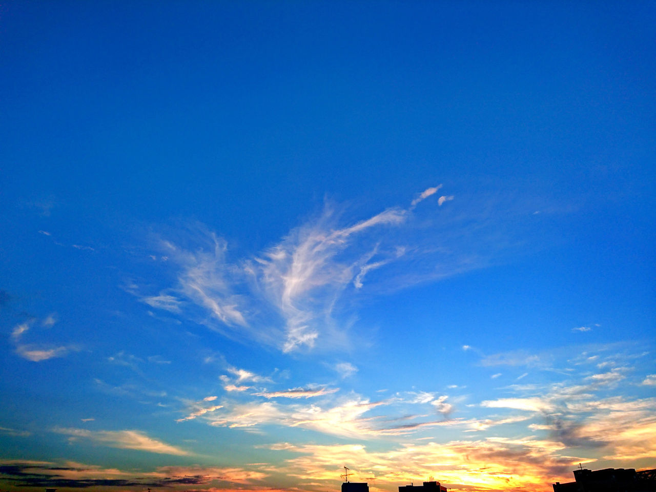 blue, sky, beauty in nature, nature, scenics, tranquil scene, low angle view, cloud - sky, sky only, tranquility, no people, outdoors, sunset, day