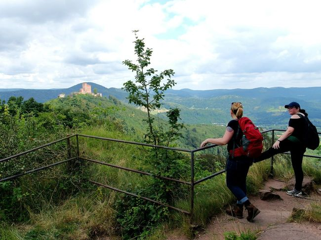 on a hiking tour Adventure Club Hikingadventures Castle On A Hill Annweiler Trifelsland Trifels Pfalz Forest Hiking Trail