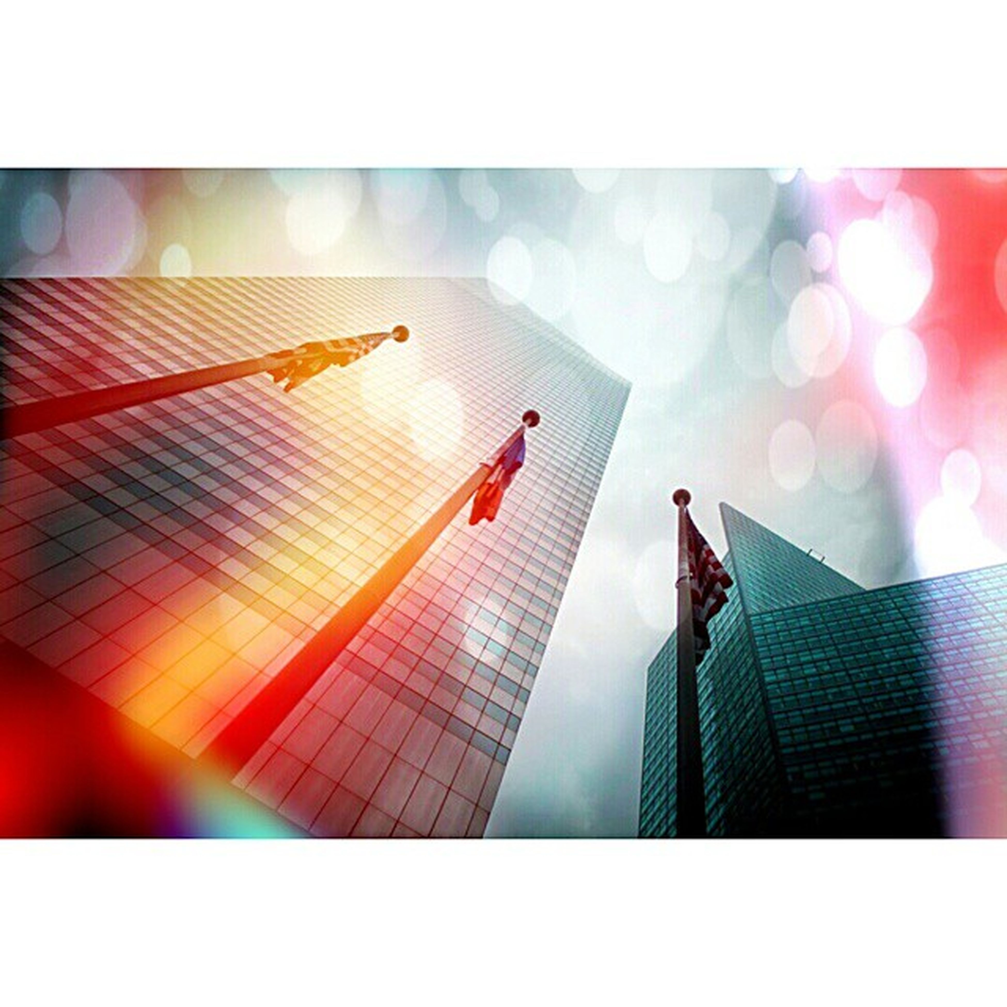 transfer print, building exterior, built structure, auto post production filter, architecture, city, modern, skyscraper, reflection, office building, low angle view, sky, sunlight, glass - material, outdoors, no people, development, sun, construction site, crane - construction machinery