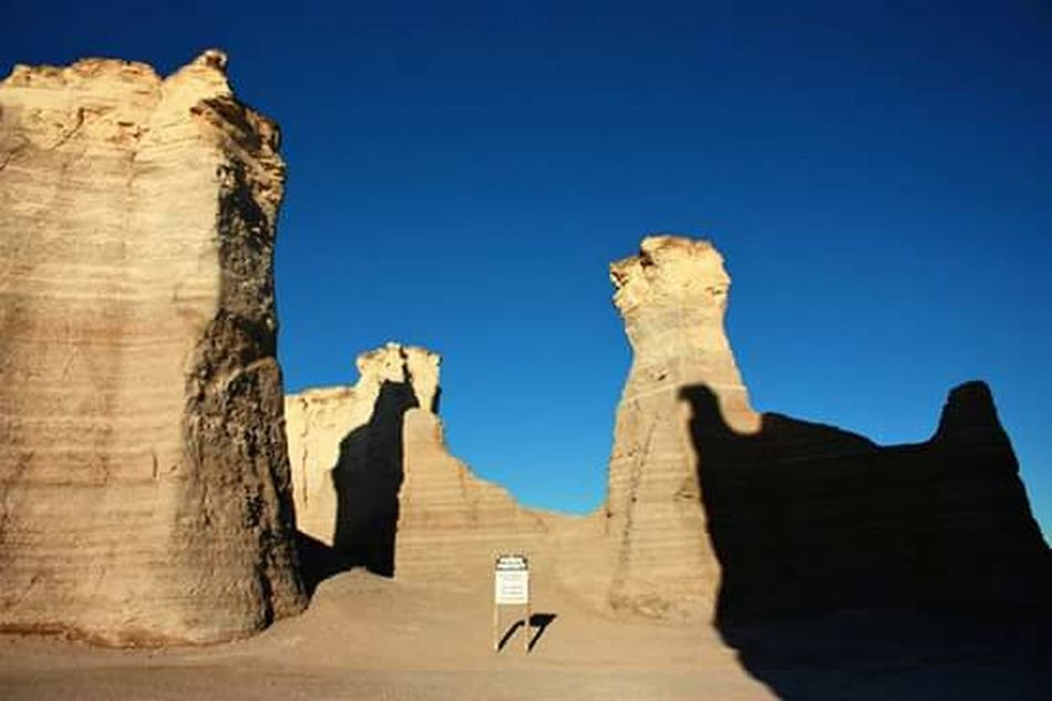 Blue Travel Destinations Travel History Shadow Ancient Scenics Sky Ancient History Day No People Natural Landmark Rock Formation Travel Rock - Object Nature Beauty In Nature Outdoors Rural Scene Canon Camera Xsi Middle Of Nowhere Kansas Landscape Sunlight