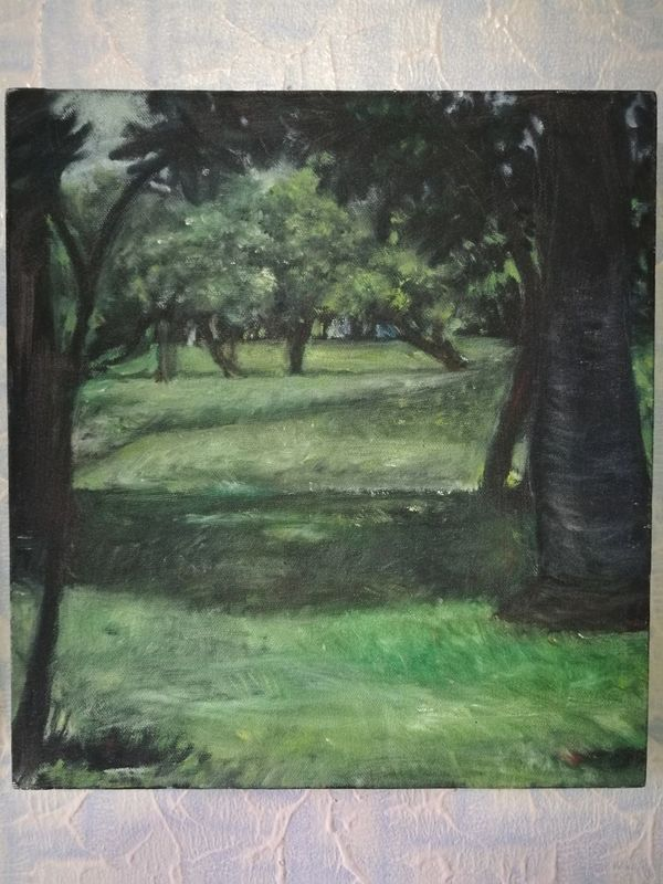 My painting II In Thailand :) Green Color Tree No People Day Grass Outdoors Nature Close-up Garden First Eyeem Photo Beauty In Nature Oil Painting Artist Thai Painting Oiloncanvas Art Cold Temperature Nature Landscape Paintings Shadows & Lights Tree