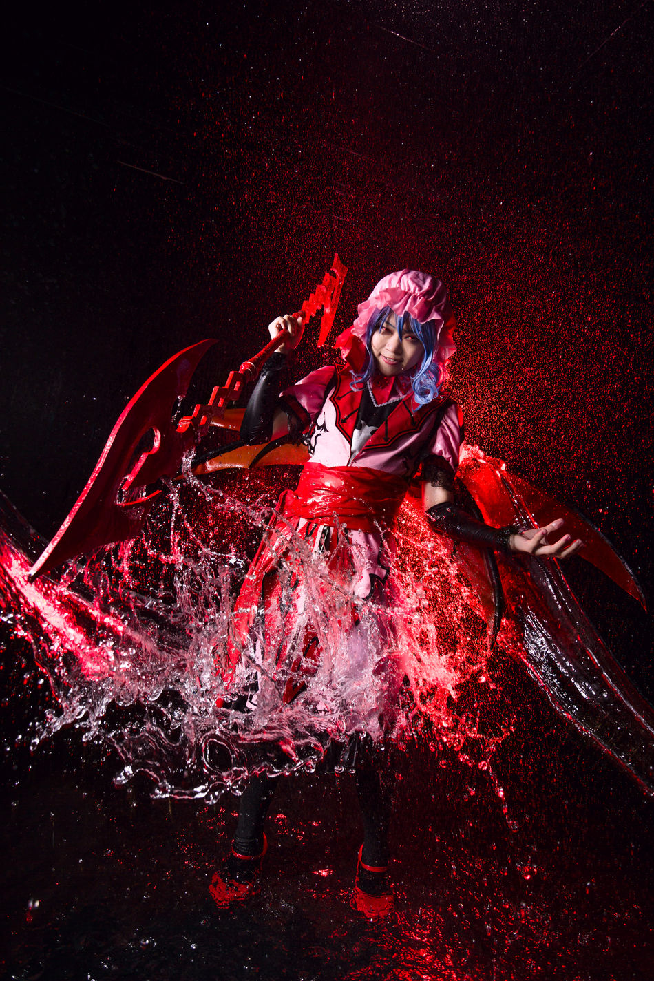 Remilia Scarlet (Koumajou ver.) Remilia Scarlet Touhou Project Cosplay Girl Portrait Water Splash Vampire Solo Single People Red Only Women One Person Indoors  Young Adult Game Spear Gungnir Asdgraphy Koumajou Touhouvania Castlevania