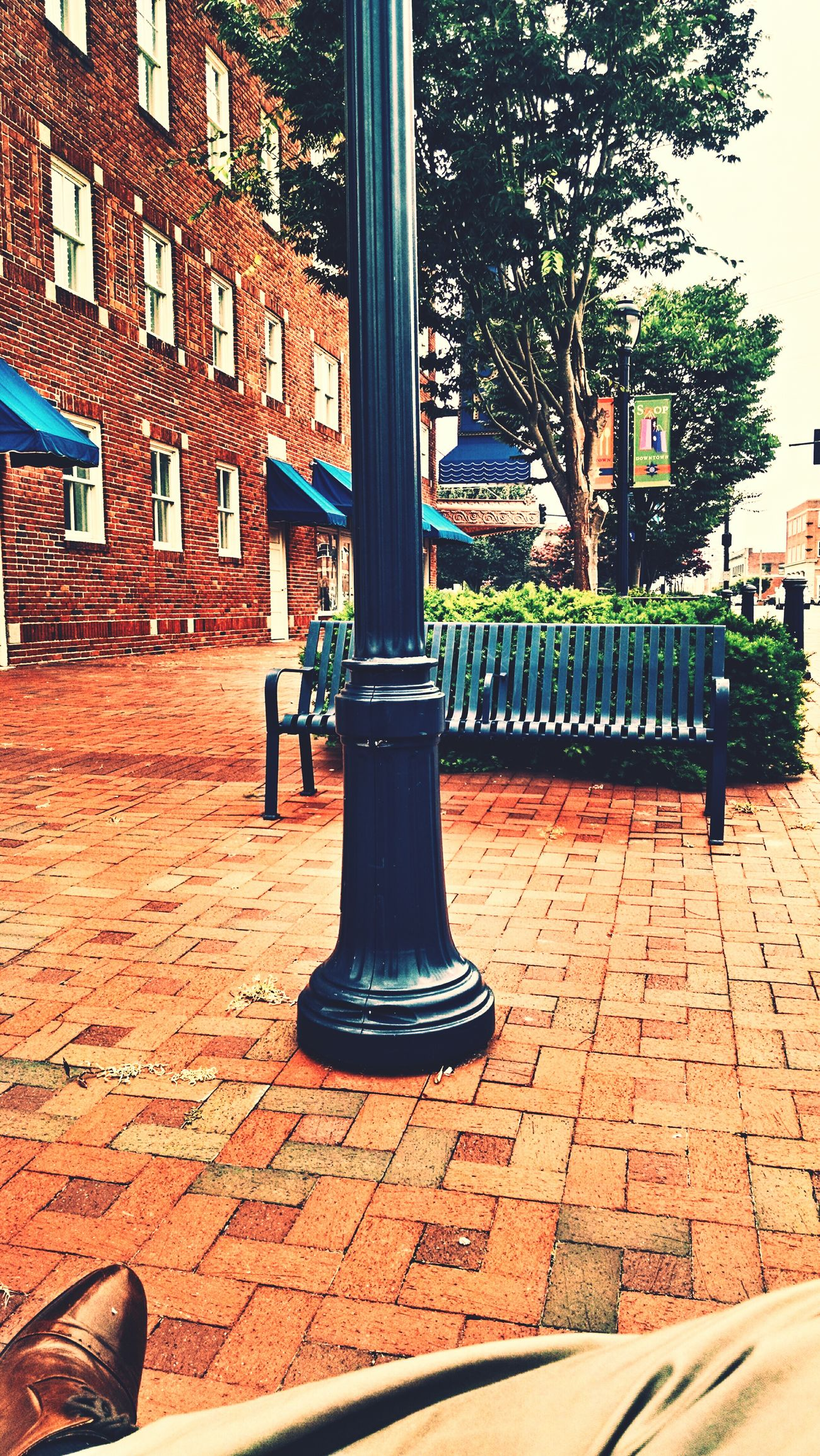 Hey Pole, cheer up and stop looking so Blue ... Bricks Hopewell Virginia Small Town Public Places