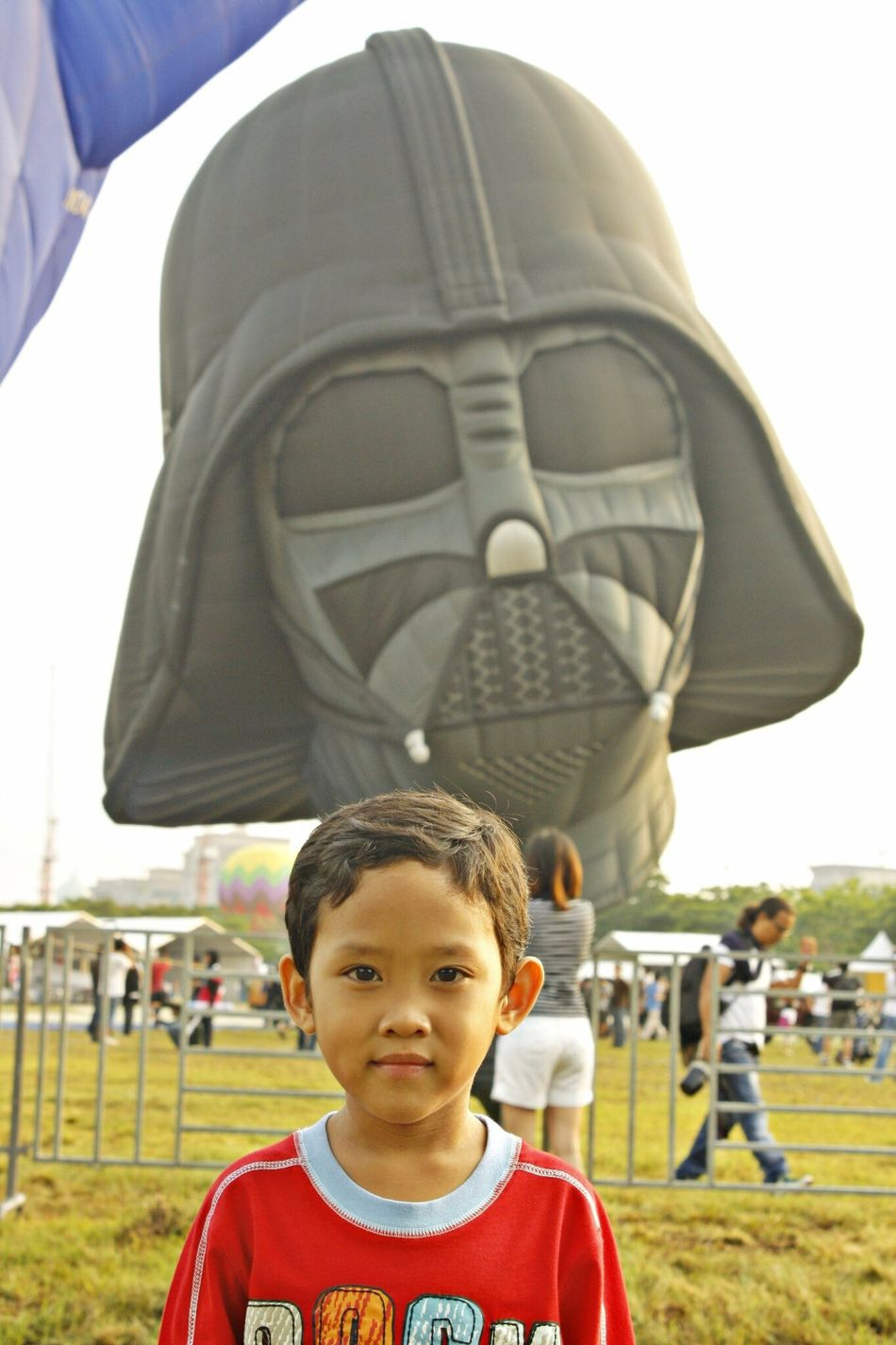 The Force Looking At Camera Real People Portrait One Person Standing Lifestyles Childhood Leisure Activity Outdoors Day Smiling Sky Close-up Darthvader Darth Starwars Hot Air Balloon Festival Starwarsfan Star Wars Day Balloonfiesta  Jedi Lukeskywalker