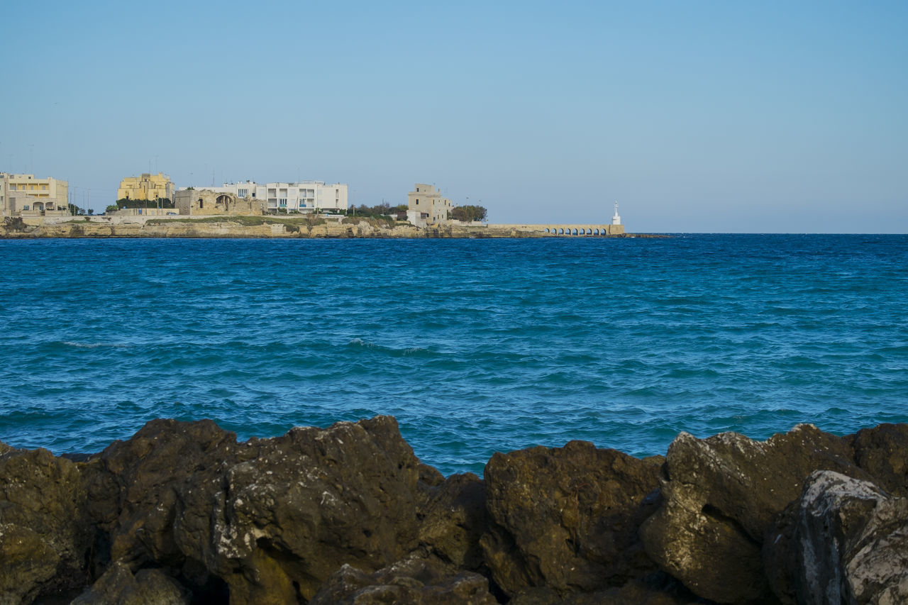 Beach Blue City Clear Sky Day Fort Horizon Over Water Italy Nature No People Otranto Outdoors Puglia Rock - Object Salento Sea Travel Destinations Water