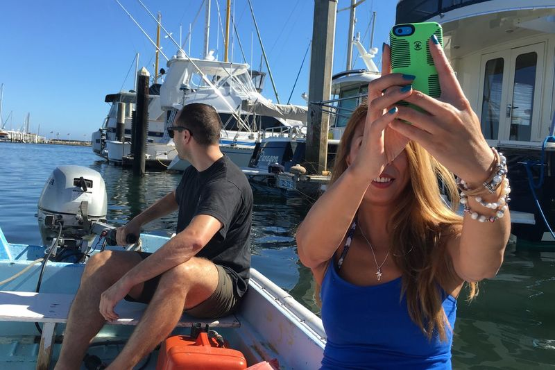 Nautical Vessel Transportation Mode Of Transport Two People Boat Ship Sea Sailing Water Harbor Yacht Selfie On Boat Selfie Having Fun Outdoors Sailboat Driveing Fun On Boat