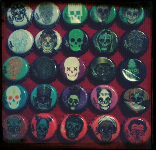 Javier Heriquez Skull Beer Metal Bottle Top