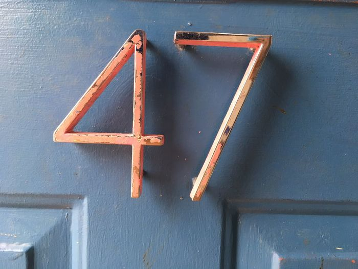 47 Close-up Day High Angle View Iron - Metal Metal Numbers No People Numbers Obsolete The Way Forward Transportation