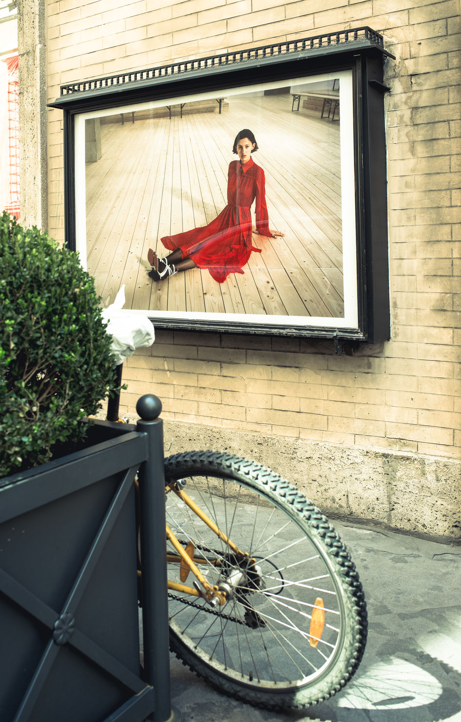 Advertising Art Is Everywhere Bicycle Bike Building Exterior Built Structure Day Full Length Lifestyles People Red Dress Women