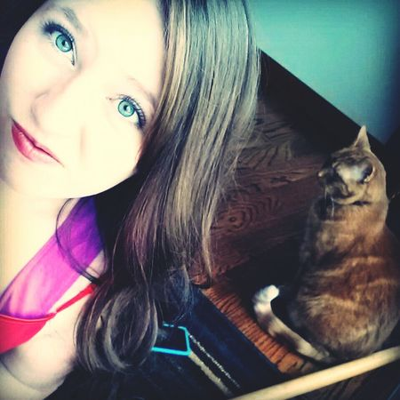With my cat ~ Teen Girl Pretty Cat