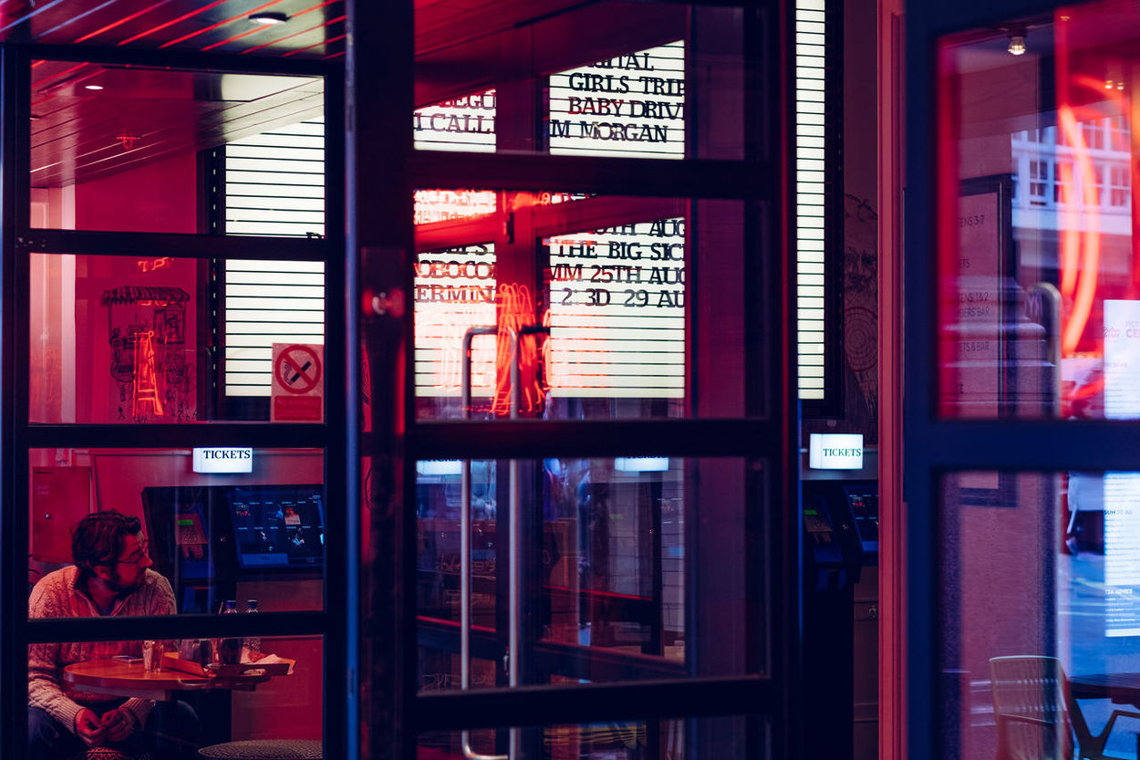 City Film London MOVIE Reflection Cafe City Colour Illuminated Indoors  Neon Neon Sign Picturehouse Window The Week On EyeEm