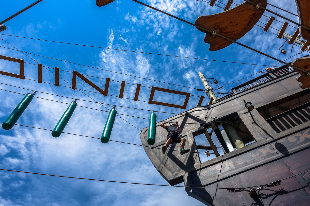 Amusement  Amusement Parks Amusementpark Blue Blue Sky Cable City Life Cloud Cloud Cloud - Sky Clouds Clouds And Sky Fun Fun Activity Leasure Leasure Activities Leasure Activity Leasure Time Low Angle View Old Port Pirate Ship Pirateship  Sky Zipline Zipline Adventure