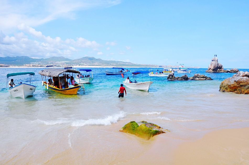 Mexico Los Cabos Beach Water Sea Tourism Boats Shore Sky Vacations Nature Scenics Beauty In Nature