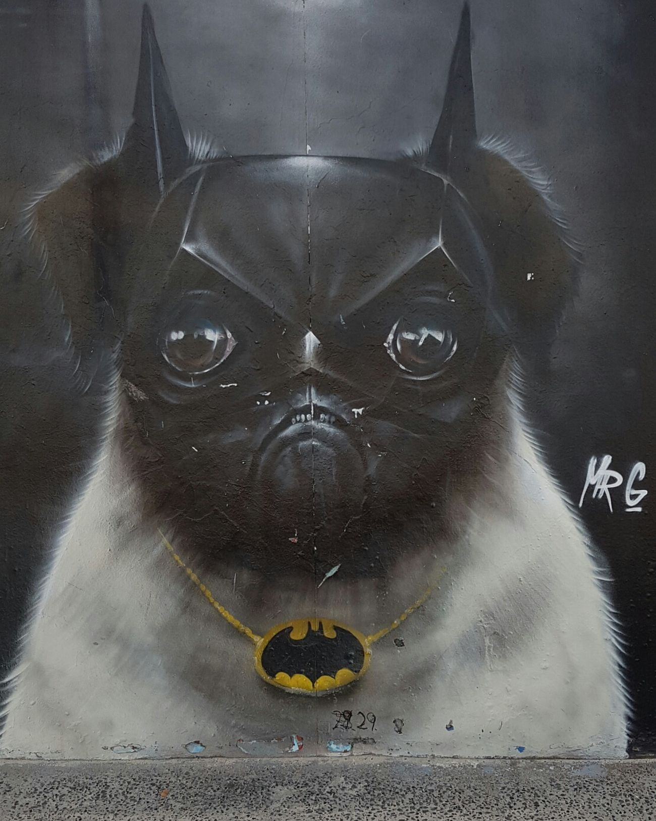 Sydney, Australia Bondi Beach Streetart Dog Batman Mask Black