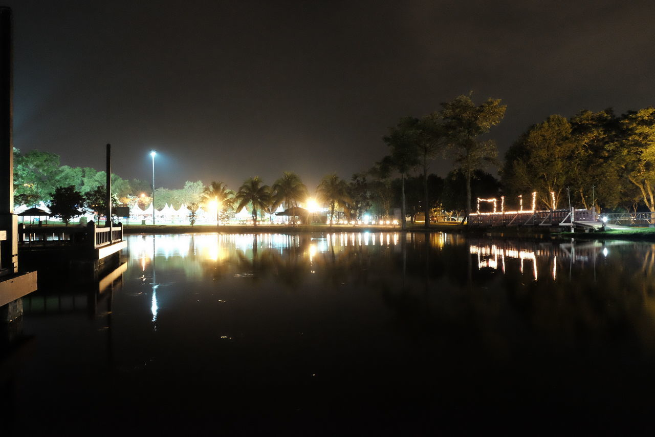 City Cultures Fujifilm FUJIFILM X-T10 Fujifilm_xseries Illuminated Nature Night Nightphotography No People Outdoors Reflection Reflection Lake Sky Tree Water
