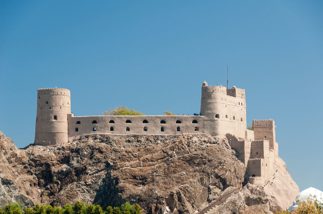 Al Jalaili Fort Al Jalaili Fort Ancient Architecture Built Structure Castle Clear Sky Exterior History Muscat Old Old Ruin Oman Outdoors Sky The Past Travel Destinations