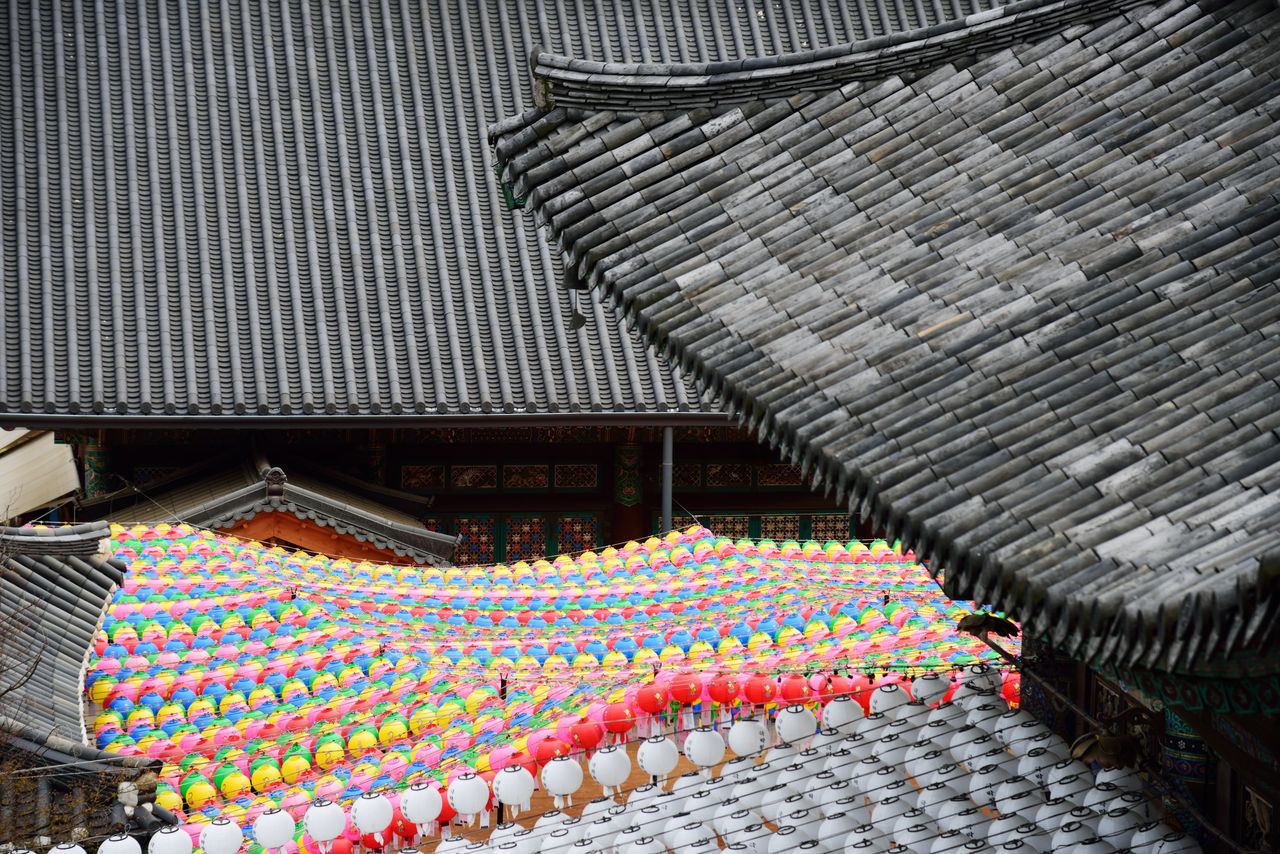 Architecture Buddha's Birthday In A Row Lotus Lantern Festival Rooftop Rows Seoul, Korea Wishes