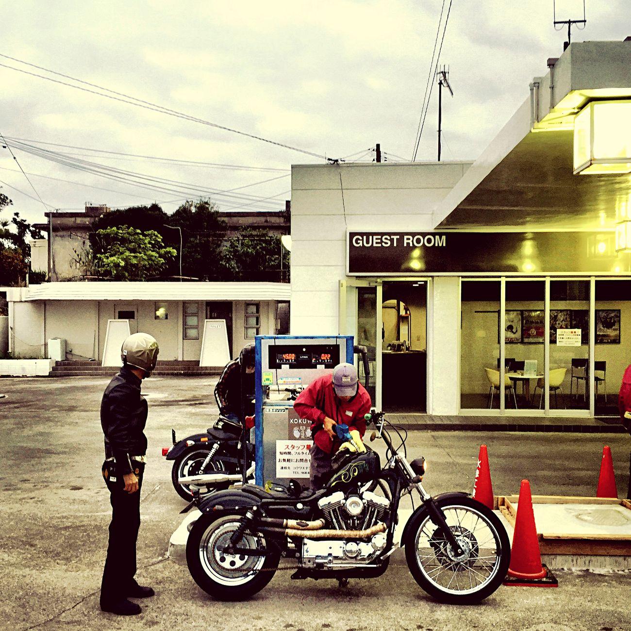 Gas charge Harleydavidson Sportster Custom Run Brotherhood Motorcycles Yanbaru Okinawa 沖縄 Bikers