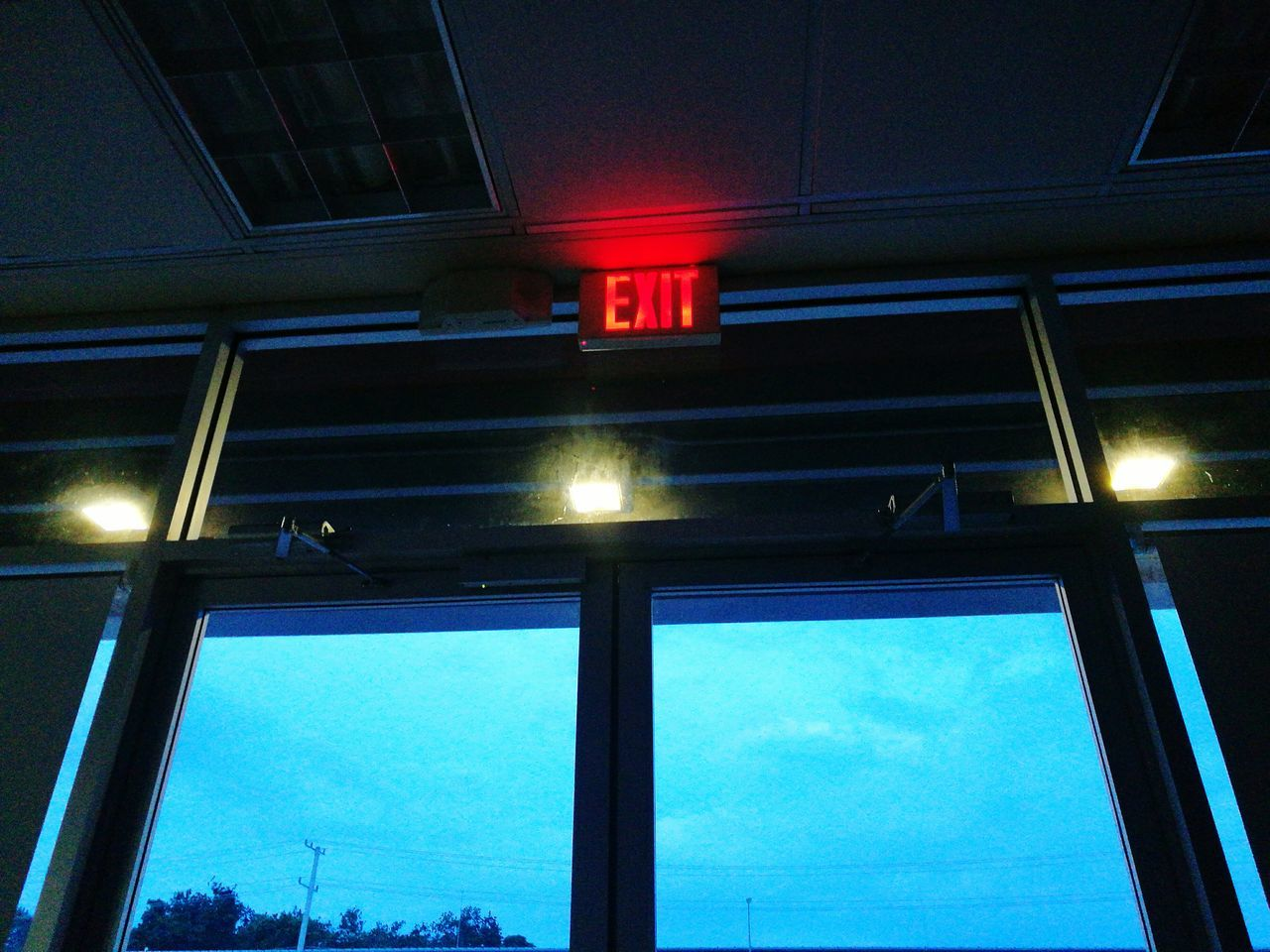 Illuminated No People Indoors  Exit Exit Sign Sky