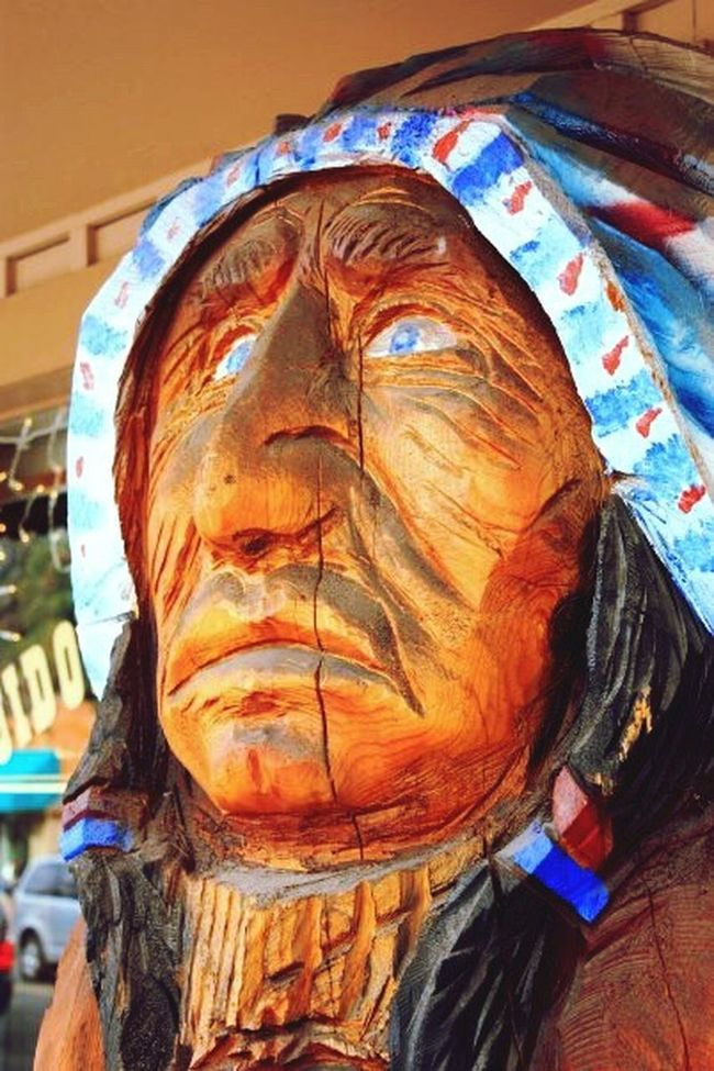 Wooden Indian Ruidoso, NM Storefront Weathered Mescalero Apache Close-up Face