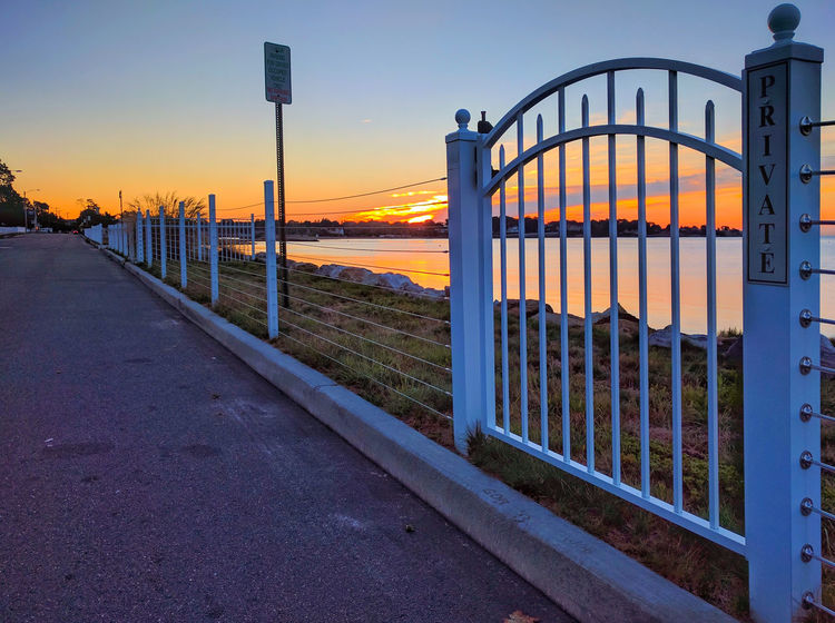 Beach Beauty In Nature Diminishing Perspective Gate Leading Leading Lines Milford CT Outdoors Scenery Scenics Sky Sunrise The Way Forward Tranquil Scene Tranquility