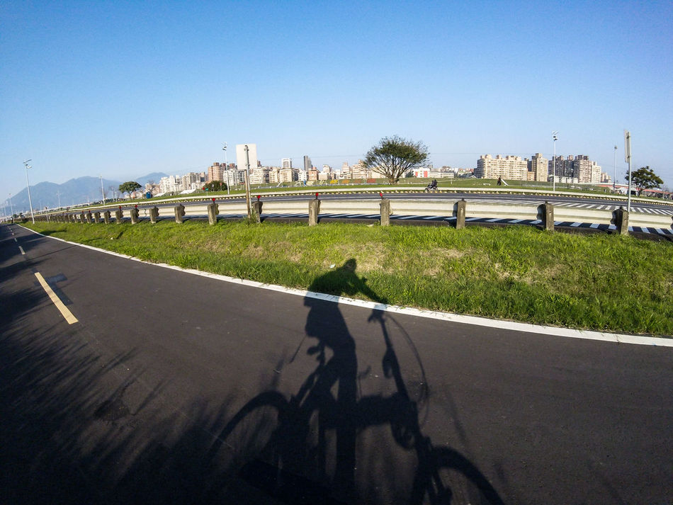Bike Biking City Life Clear Sky Daily Project Day Exercise Exploring EyeEm Gallery Grass Nature Outdoors Real People Riverside Road Shadow Sunlight Taking Photos The View And The Spirit Of Taiwan 台灣景 台灣情 Gopro Gopro Session Bicycle