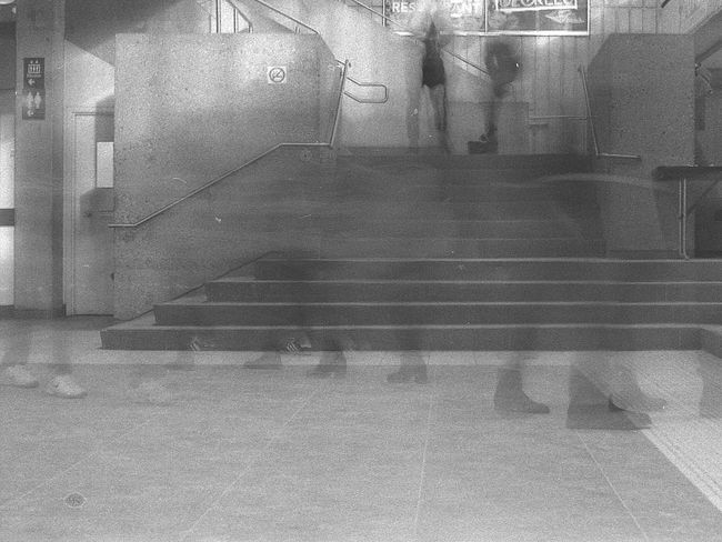 Ghosts on campus University Long Exposure Black And White Film