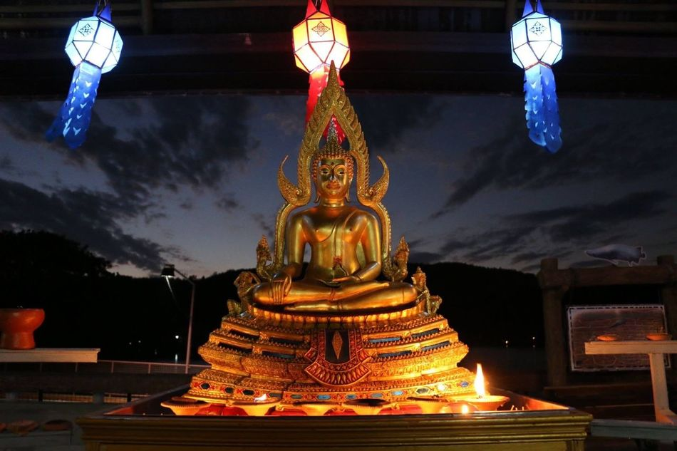 Flying High Buddha Buddhist Cultures Religion No People Night Thaiculture