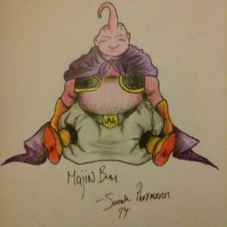 Majin BUU Majinbuu Dragon Ball Z Dragonball Z Dragonballz Anime Cartoon Drawing Art Fanatics Stoner Haaa Hello