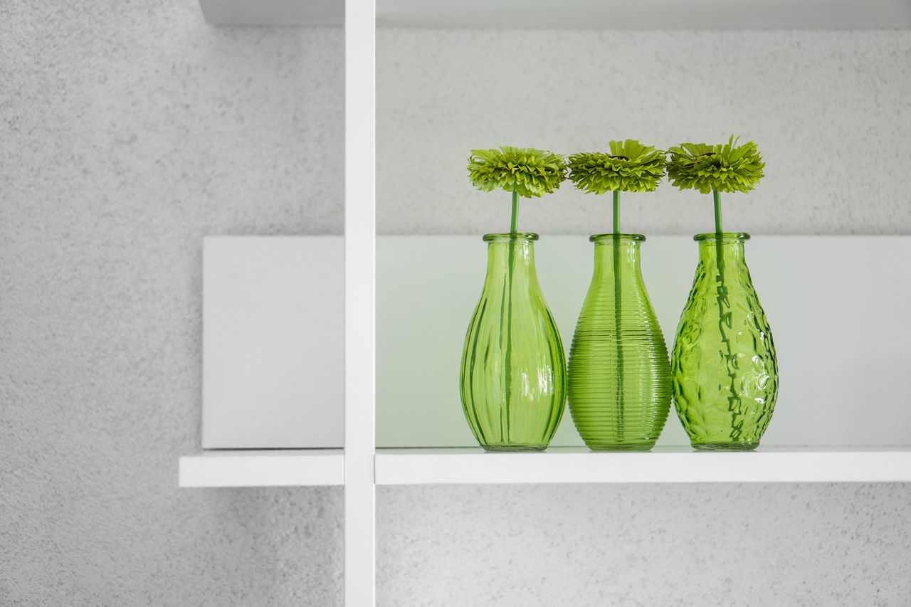 Green Color Minimalism Arrangement Shelf White No People Art Is Everywhere Furniture Indoors  In A Row Colours Colors Still Life Decoration Interior Design Design Green Monochrome