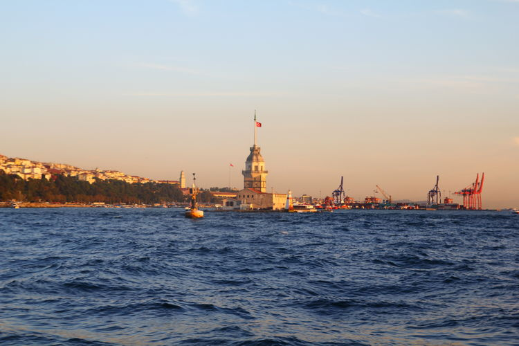 Architecture Blue Built Structure City Istanbul Kızkulesi Maiden's Tower Sky Tower Travel Destinations Water Waterfront