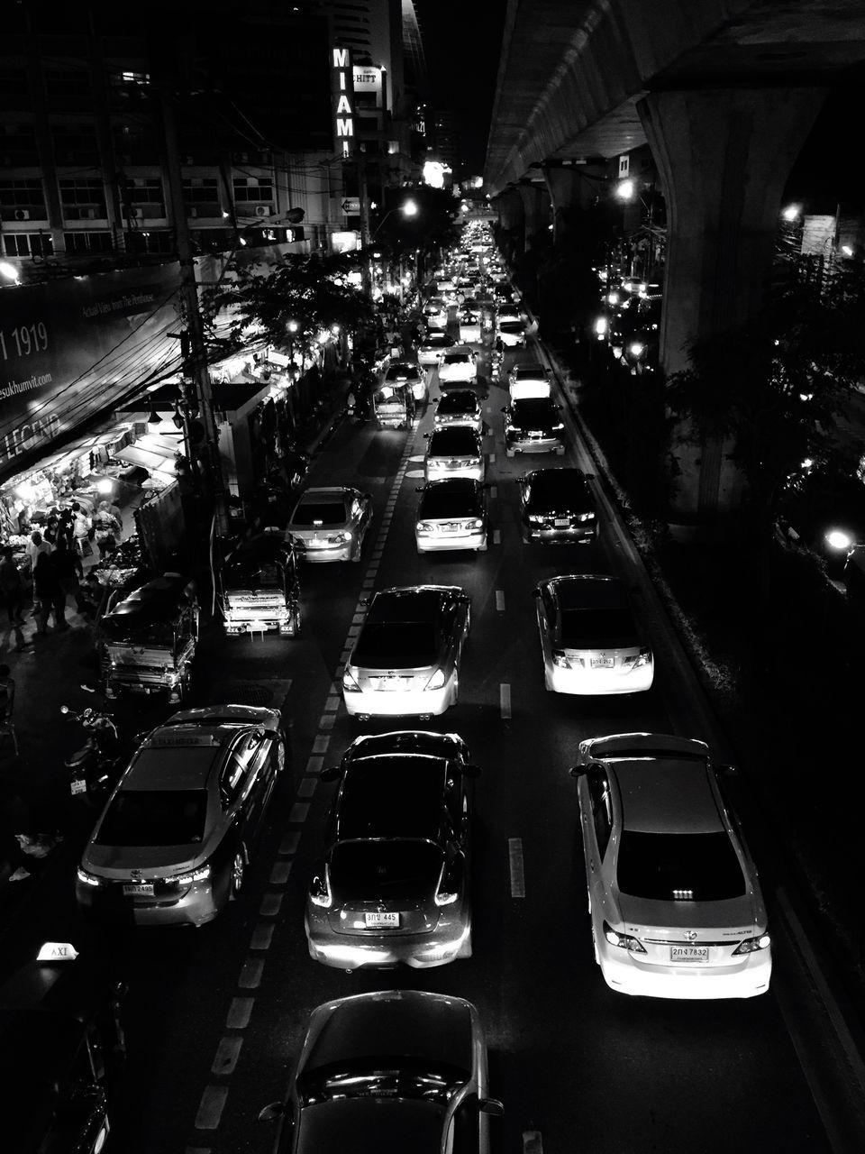 car, transportation, illuminated, land vehicle, traffic, night, mode of transport, street, road, rush hour, no people, city, outdoors
