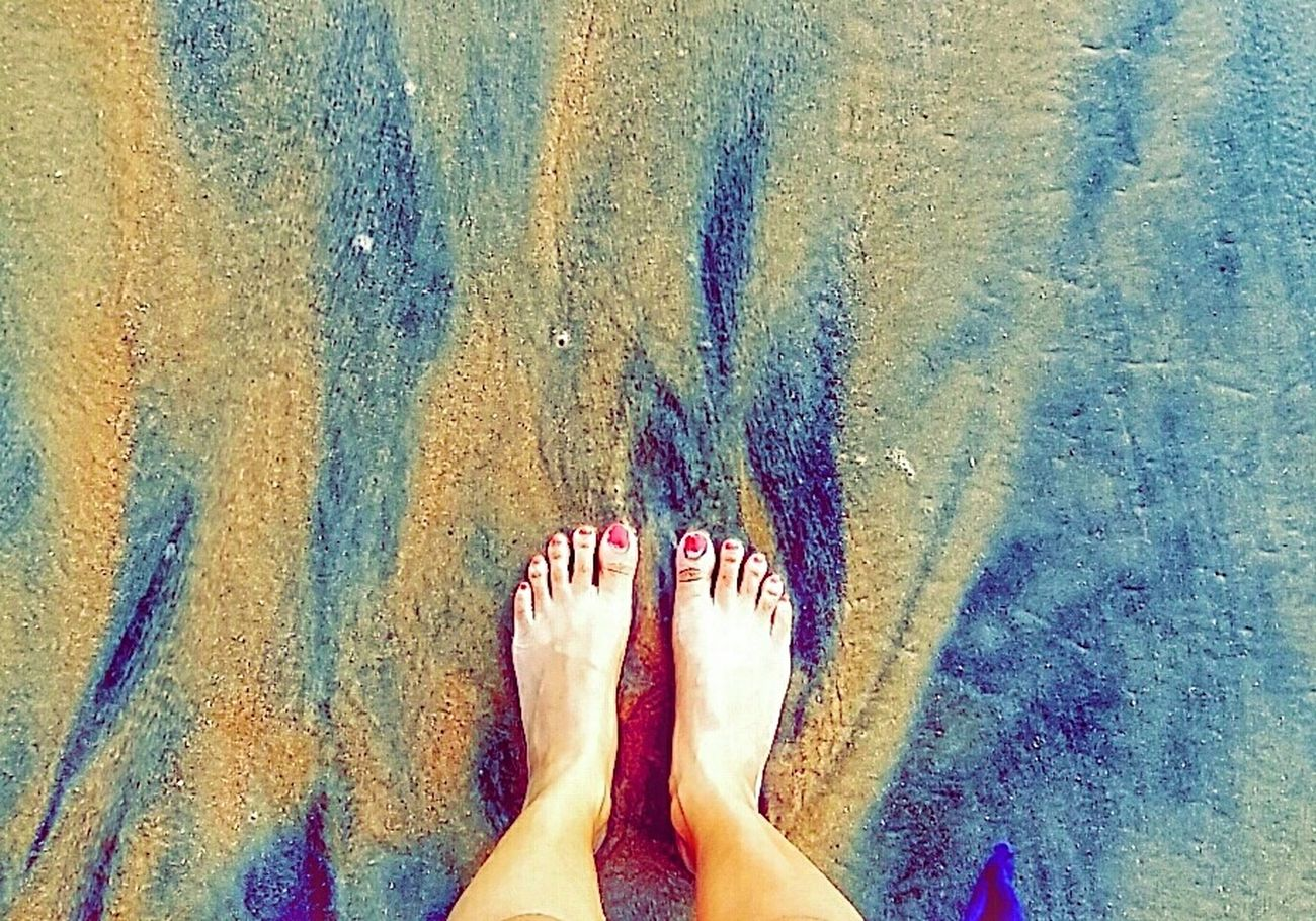 Day at the beach Personal Perspective Lifestyles Barefoot Water Sand Patterns India Beach Day Art Is Everywhere