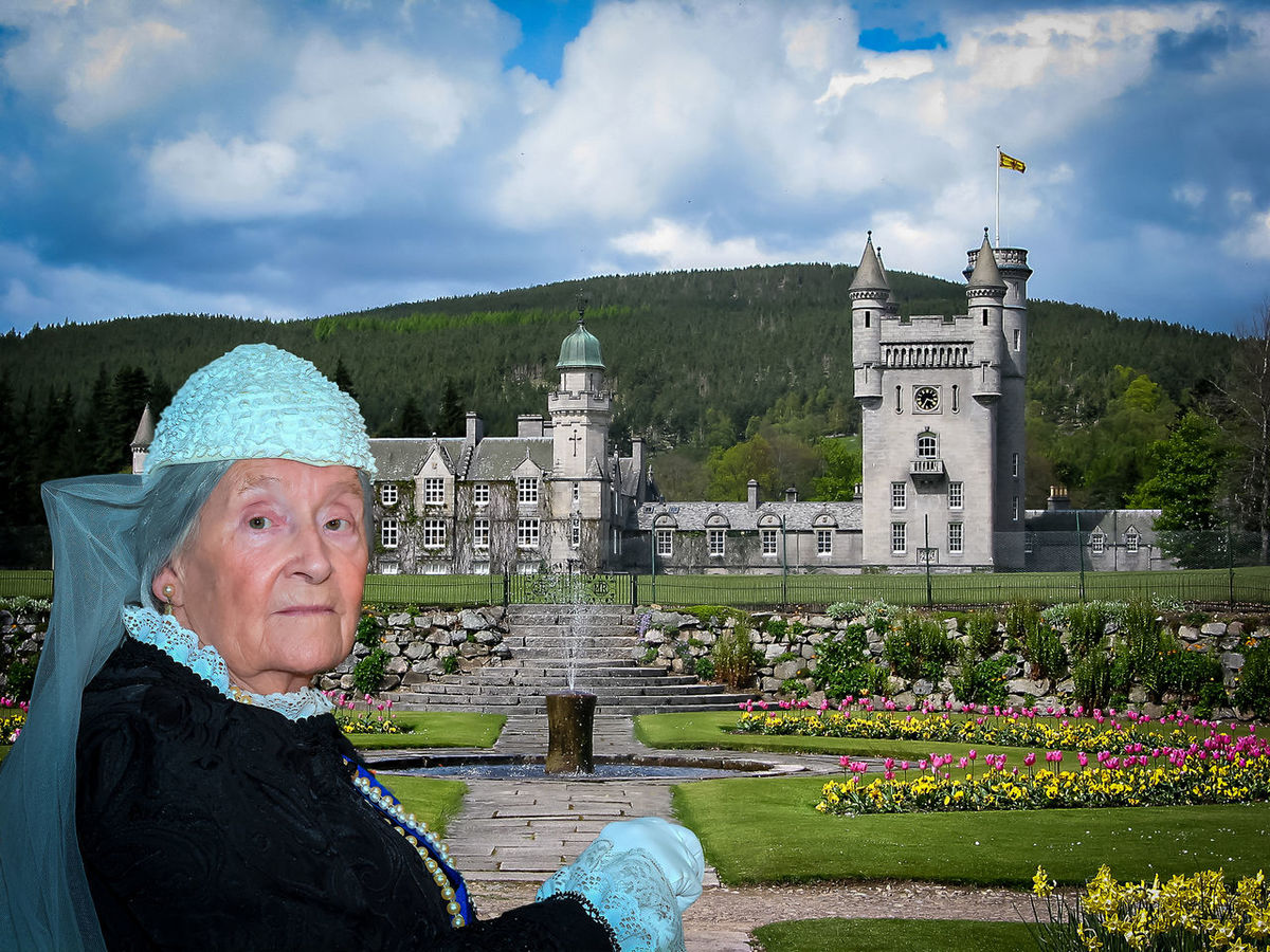 Balmoral Castle Queen Victoria  Architecture Beauty In Nature Building Exterior Built Structure Cloud - Sky Day Flower Lifestyles Nature One Person Outdoors People Plant Real People Senior Adult Senior Women Sky Smiling Theatrical Travel Destinations Water Women Theatrical Performance